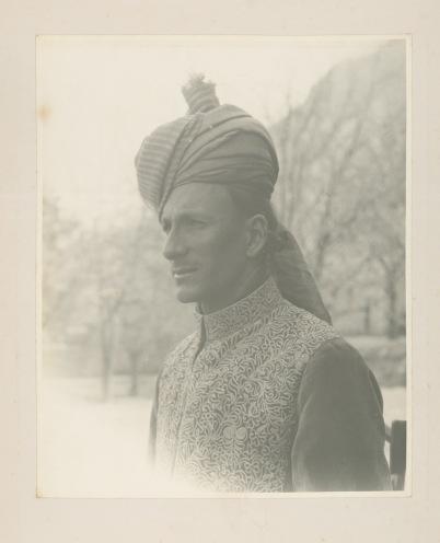 Portrait of a European man in Eastern dress.